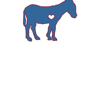 I Love Donkey Rider Jackass Mule Funny Democrat Jockey Blue Red Clean by zot717