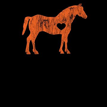I Love Horses Black Rider Cowboy Cowgirl Jockey Orange by zot717