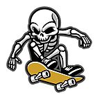 cartoon of skull ride a skateboard by features2018