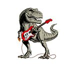 Dinosaur playing electric guitar. Tyrannosaurus or T. rex. Vector illustration. by features2018