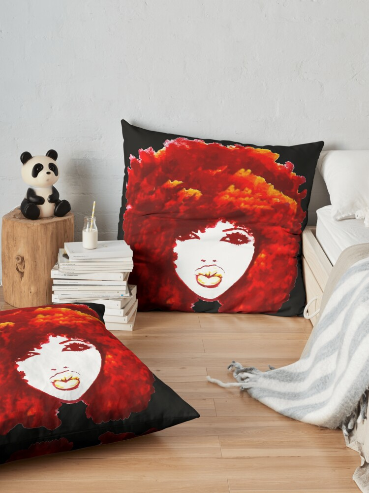 Alternate view of Natural Hair Autumn Fire Red Curly Hair Afro  Floor Pillow