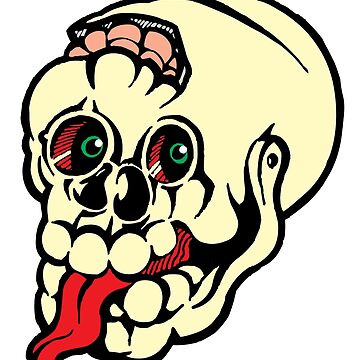 Black and white cracked skull with braindamage and has its tongue out coloured by markdalderup