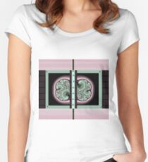 3D FRACTALS, MINT GREEN, PINK and BLACK,  ART printed decor and gifts Women's Fitted Scoop T-Shirt