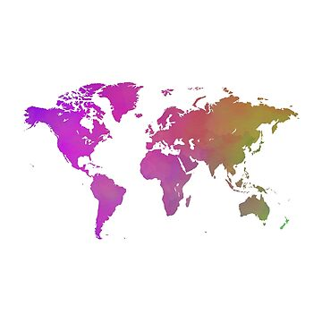 Pink and Green Watercolor World Map by Map-Your-World