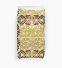 Gold Knotwork Squares and Hounds Border Duvet Cover