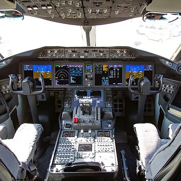 Interior of the cockpit of an El Al Boeing 787-9 Dreamliner Photographed at Ben-Gurion Airport, Israel by PhotoStock-Isra