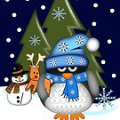 Baby penguin with his Rudolph toy by walstraasart