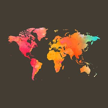 Multi-Color Watercolor World Map by Map-Your-World