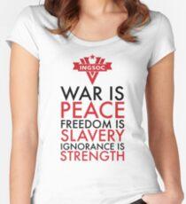 Camiseta entallada de cuello redondo La guerra es paz, la libertad es esclavitud, la ignorancia es fuerza