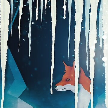 Fox in a snowy cave by MagpieMagic