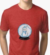Cat in a Snow Globe  Tri-blend T-Shirt