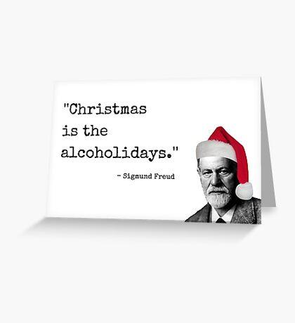 La tarjeta de Navidad de Sigmund Freud, tarjetas de felicitación de Meme, citas, regalos, regalos, la Navidad es el alcoholidays. Tarjeta de invitación de la fiesta de navidad Tarjeta de felicitación