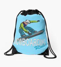 Snowboard Rules Winter Snowboarding Drawstring Bag