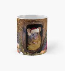 Christmas mouse in a log pile house Classic Mug