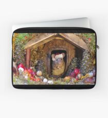 Christmas mouse in a log pile house Laptop Sleeve