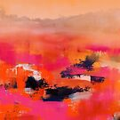 Warm Pink and Orange Abstract Flower Field by melaniebiehle