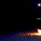 Fire on the beach, Full Moon by CapeCodWave