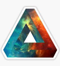 Abstract Geometry: Penrose Nebula (Fire Red/Orange/Blue) Sticker