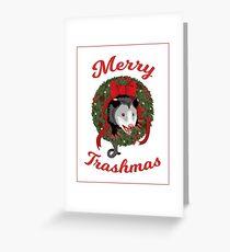 Weihnachts-Opossum-Kranz Lustige Weihnachtsstrickjacke Grußkarte