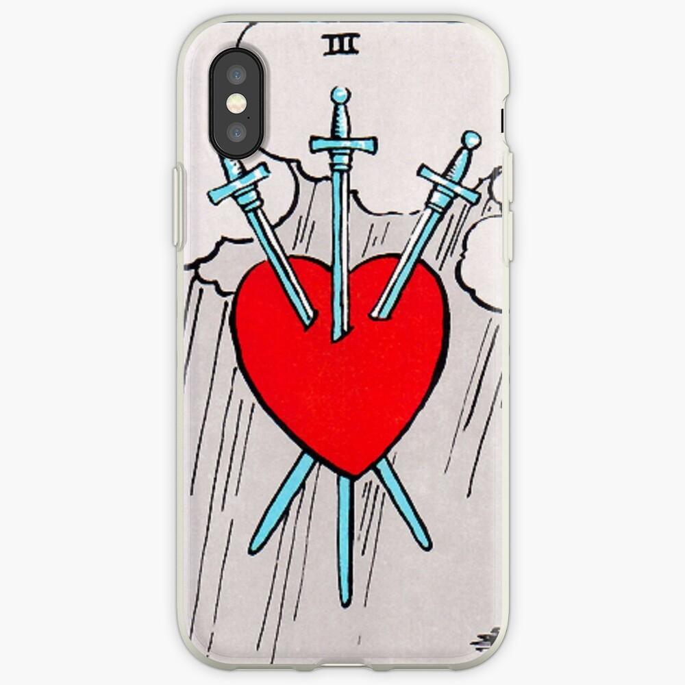Tres de espadas Tarot Funda y vinilo para iPhone