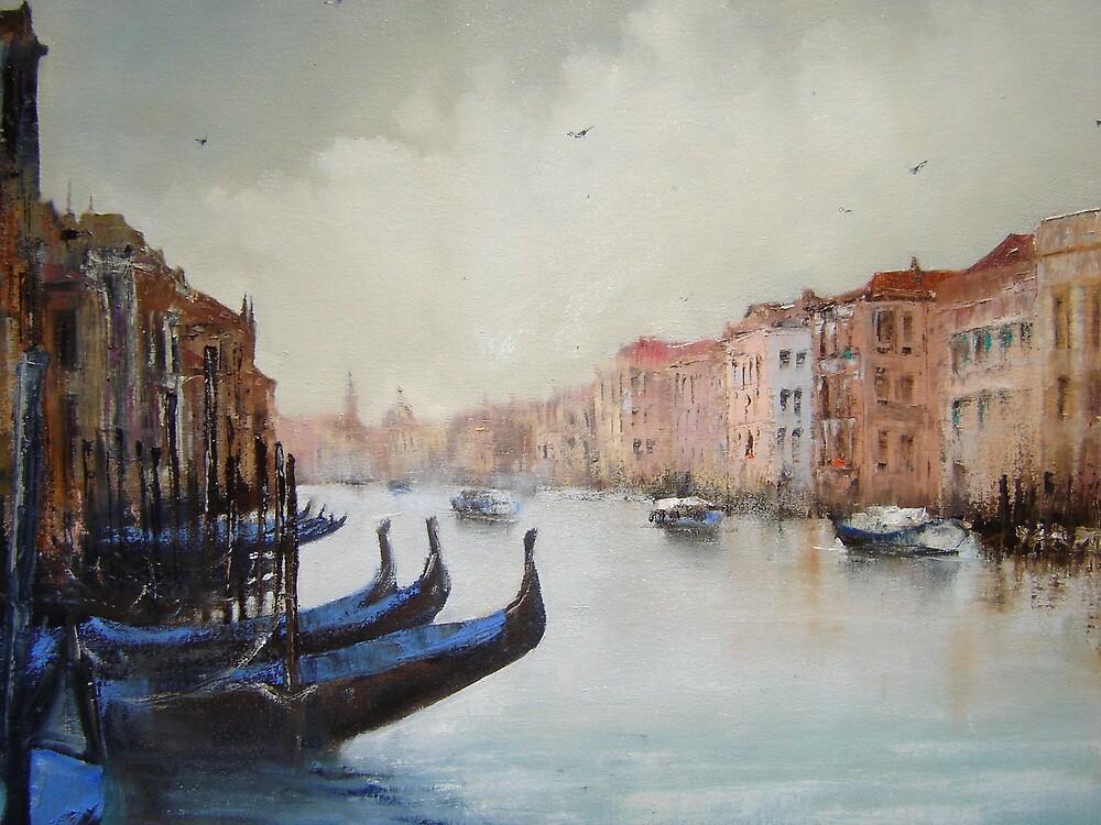 Gondolas with blue covers by Mick Kupresanin