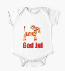 God Jul Swedish Straw Goat Frohe Weihnachten Skandinavien Julbok Baby Body Kurzarm