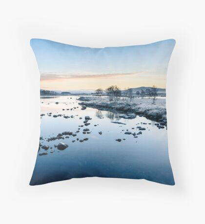 Icy Sunrise at Loch Ba Throw Pillow