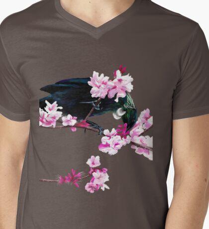 Tui Feeding on Cherry Blossoms: Metallic T-Shirt