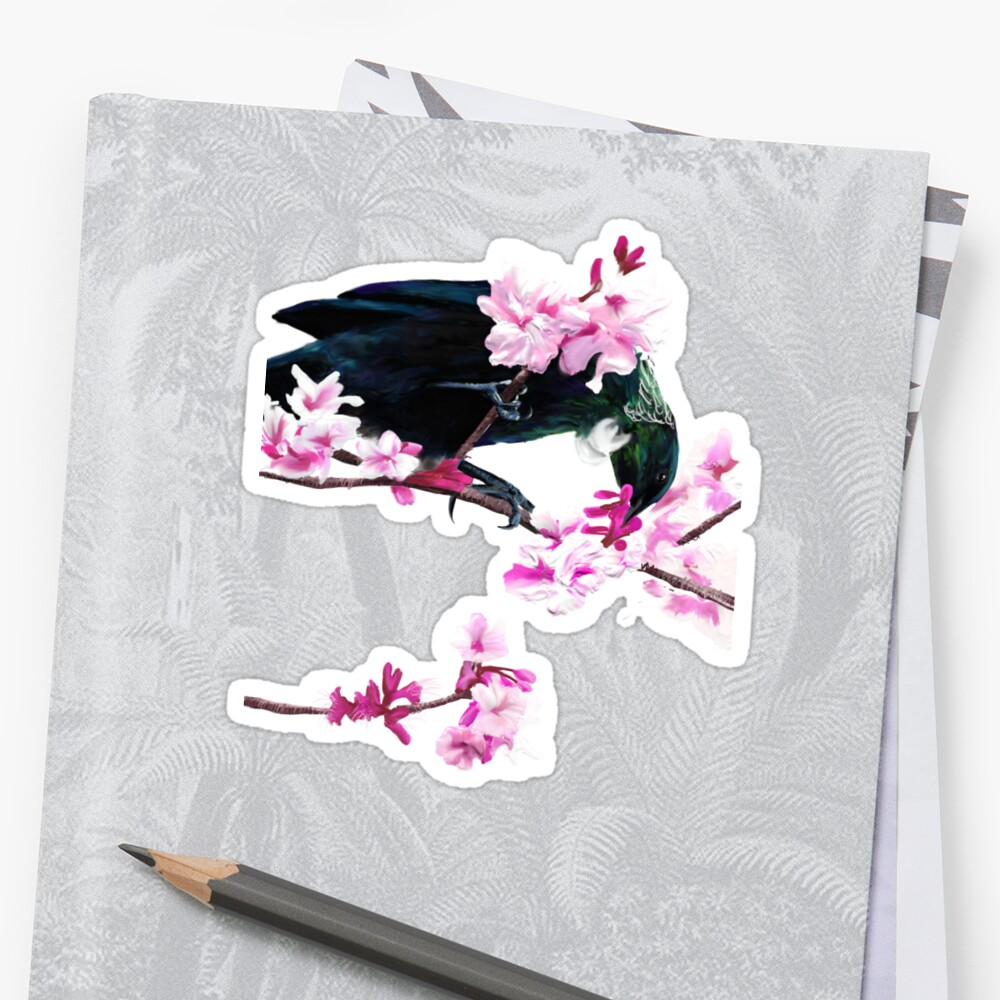 Tui Feeding on Cherry Blossoms: Metallic by Flynnthecat