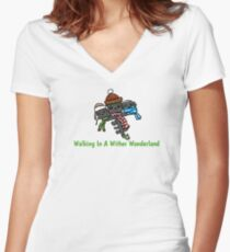 Walking in a wither wonderland  Women's Fitted V-Neck T-Shirt