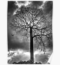 Tree against a dark moody sky Poster