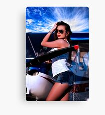 Fashion Girl and Airplane Fine Art Print Canvas Print