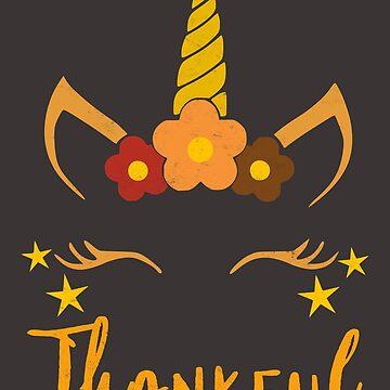 Funny Unicorn T-Shirt Girls Thanksgiving Fall Thankful Shirt by arnaldog