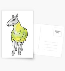 Psychedelic sheep: Blue Faced Leicester, yellow/green Postcards