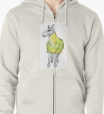 Psychedelic sheep: Blue Faced Leicester, yellow/green Zipped Hoodie