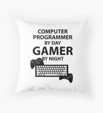 Programmer by day, Gamer by night Throw Pillow