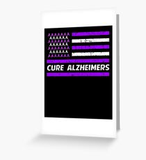 Cure Alzheimers Purple American Flag Greeting Card