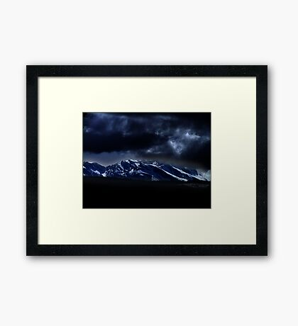 Mountains and moonlight Framed Print