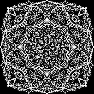 Meditation Square Mandala Hand Drawn Geometric Pattern - Yoga Gifts, Boho Gifts by LeahMcNeir