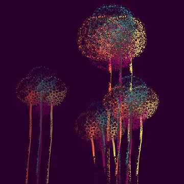 Purple Summer Flower Trees by enhan