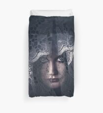 Mysterious female mystic veiled in lace secrecy  Duvet Cover