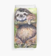 Funny and Happy Sloth  watercolor art from George Dyachenko  Duvet Cover