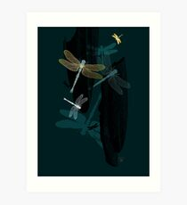 Midnight Dragonflies Art Print