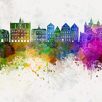 Tübingen skyline in watercolor background by paulrommer