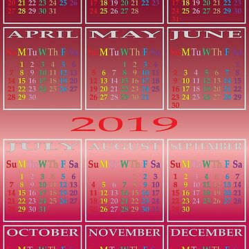 2019 calendar color days gradient background by AdiBud
