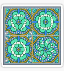 4 blue shapes Sticker