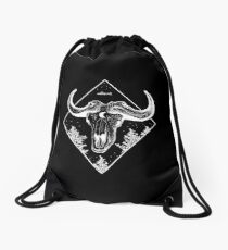 black skull in the nightsky. Drawstring Bag