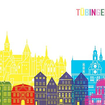 Tübingen skyline pop in editable vector by paulrommer