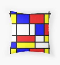 Retro Mondrian Pattern Throw Pillow