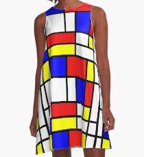 Retro Mondrian Muster A-Linien Kleid